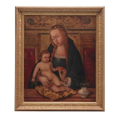 Embellished Photomechanical Print of Madonna and Child