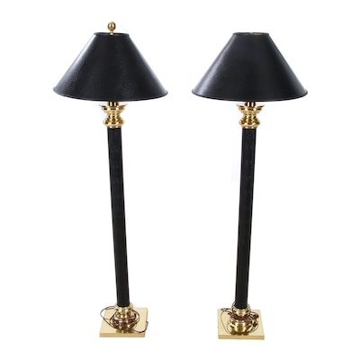 Stiffel Faux Snakeskin Wrapped Brass Floor Lamps, Late 20th Century