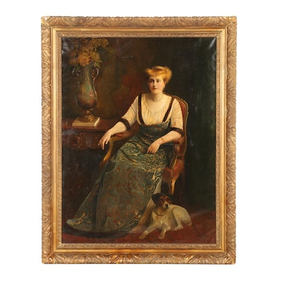 August Hermann Knoop 1919 Oil Portrait of a Seated Woman