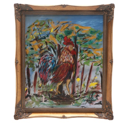 "G. Gavreros Oil Painting ""El Gallo"""