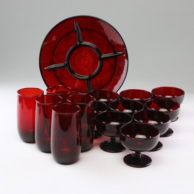 "Anchor Hocking ""Royal Ruby"" Red Pressed Glass Tumblers and More"