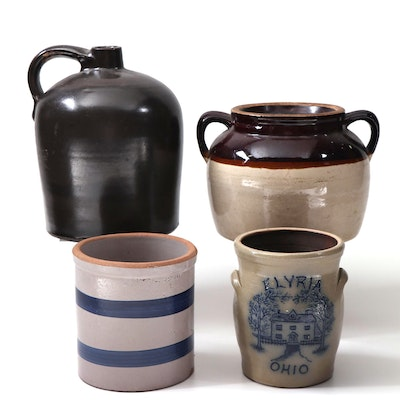 Stoneware Jug, Bean Pot and Crocks Featuring Maple City and Ransbottom