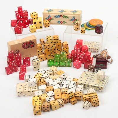 Plastic, Bone, and Bakelite Dice and Other Game Pieces Including Crisloid
