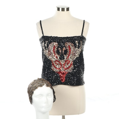 CJ Couture Sequin Deer Tube Sweater with Cap, Vintage