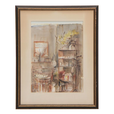 Lippman Watercolor Painting of Interior Scene