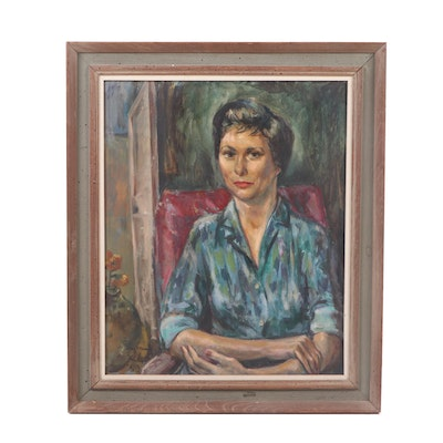 Mid 20th Century Oil Portrait of Woman