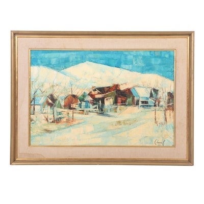 Clavel Abstract Winter Landscape Oil Painting