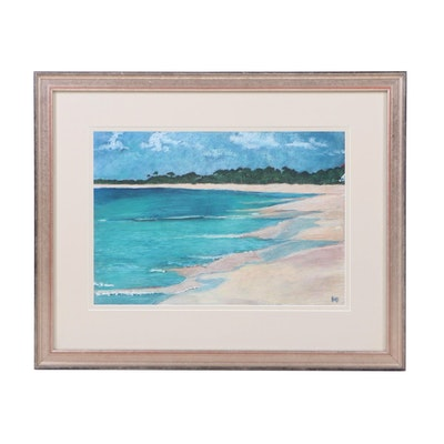 Kate N. Begien Coastal Landscape Gouache Painting