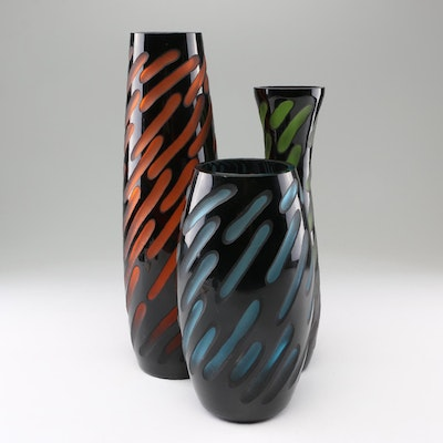 Contemporary Banded Art Glass Vases