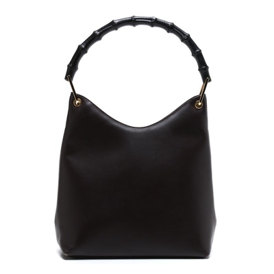Gucci Bamboo Handle Brown Leather Handbag