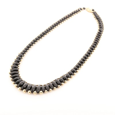 14K Yellow Gold Black Coral Beaded Necklace