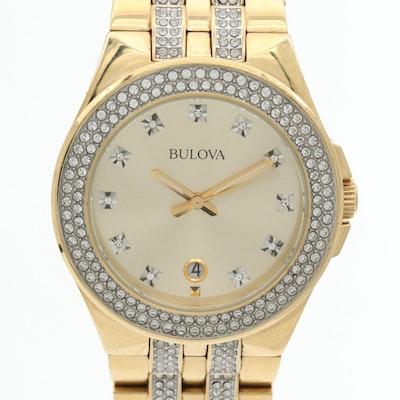 Bulova Crystals Stainless Steel Quartz Wristwatch With Swarovski Crystals