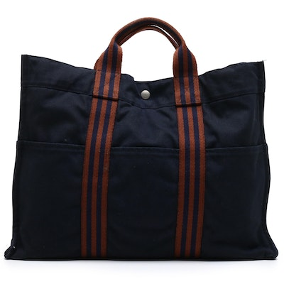Hermès Dark Blue and Brown Fourre Tout MM Canvas Tote