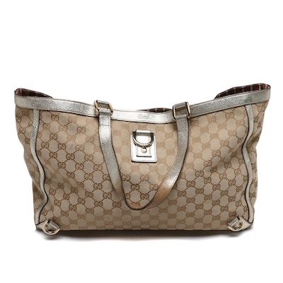 Gucci Tan GG Canvas and Metallic Gold Leather Tote Bag
