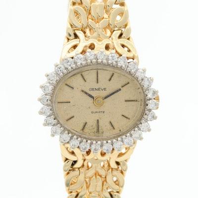 14K Gold and Diamond Bezel Geneve Quartz Wristwatch