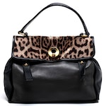 Yves Saint Laurent Leather and Leopard Dyed Pony Hair Muse Two Satchel