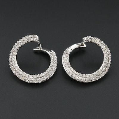 10K White Gold 1.03 CTW Diamond Open Hoop Earrings