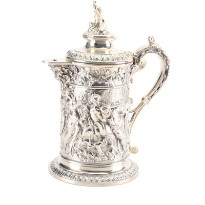 John Grinsell & Sons Silverplate Lidded Tankard, circa 1860 Antique