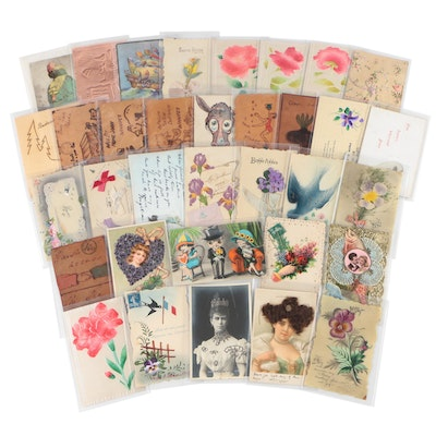 Embellished Postcards with Silk, Leather, Flowers, and More, Antique to Vintage
