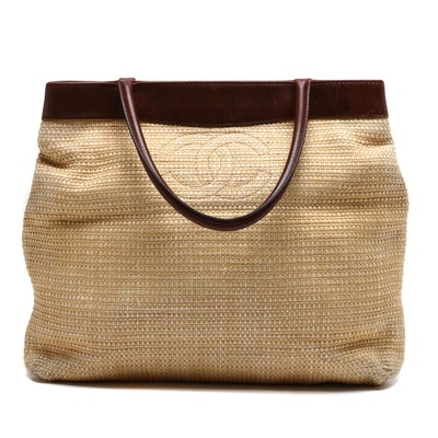 Chanel Woven Straw and Brown Leather CC Tote