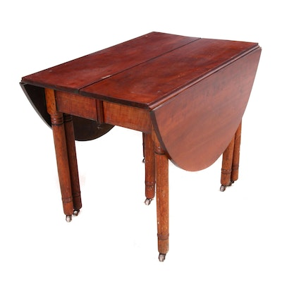 American Primitive Cherry and Oak Drop-Leaf Dining Table, 19th Century