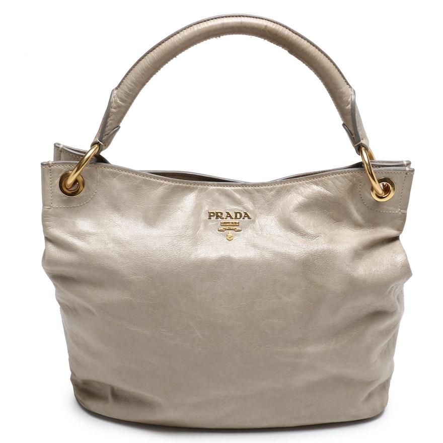 Prada Glazed Leather Shoulder Bag