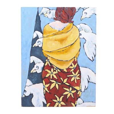 "Laura Sjoquist 1997 Oil Painting ""Woman with Birds"""