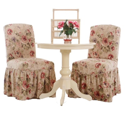 Arhaus Painted Slip-Covered Chairs, Table, Magazine Carrier, Floral Arrangement