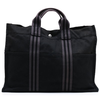 Hermès Black and Gray Fourre Tout MM Canvas Tote