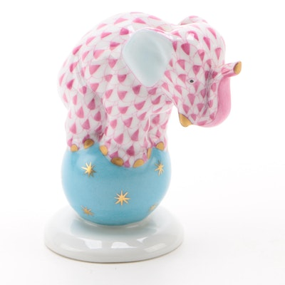 "Herend Raspberry Fishnet ""Elephant on Ball"" Porcelain Figurine, December 1994"