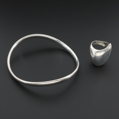 Danish Modernist Georg Jensen Sterling Bangle Bracelet and Ring