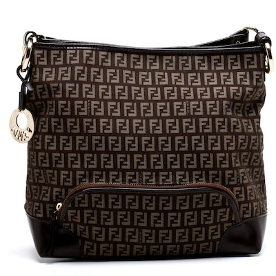 Fendi Zucca Monogram Canvas and Leather Shoulder Bag