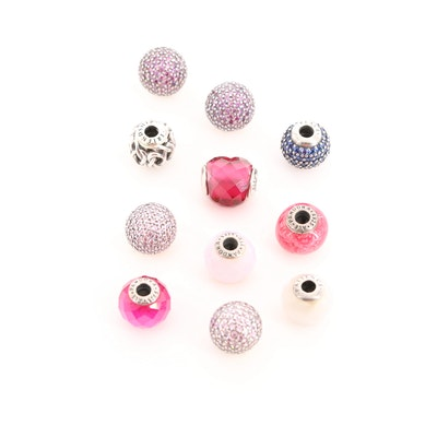 Pandora Essence Sterling Silver Charm Beads with Cubic Zirconia and Enamel
