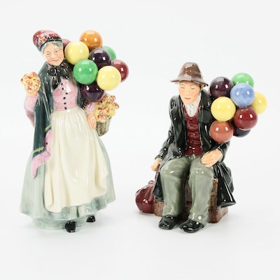 "Royal Doulton ""The Balloon Man"" and ""Biddy Pennyfarthing"" Porcelain Figurines"