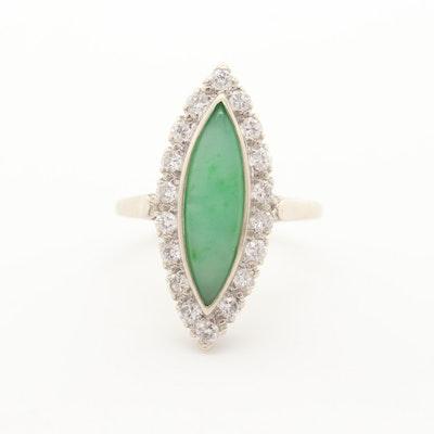 14K White Gold Jadeite and Diamond Ring