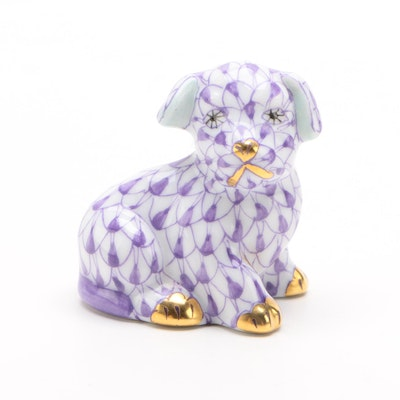 "Herend Lavender Fishnet with Gold ""Miniature Puppy"" Porcelain Figurine"