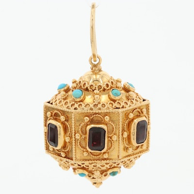 18K Yellow Gold Etruscan Style Garnet Pendant with Cannetille and Granulation