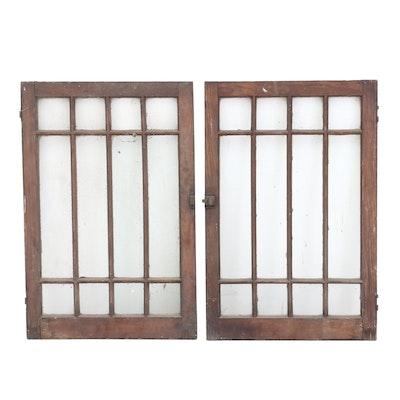 Pair of Arts and Crafts Oak Cabinet Doors, Circa 1915