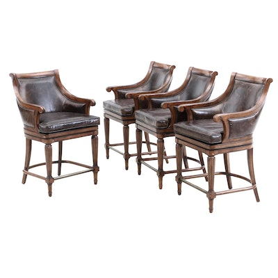 Four Frontgate Leather Swivel Counter Stools