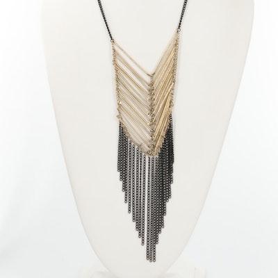 Gold and Black Tone Fringe Necklace