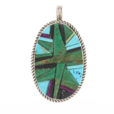 Southwestern Sterling Silver Turquoise and Sugilite Inlay Pendant
