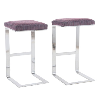 Pair of Chrome Cantilever Barstools; Mid to Late 20th Century