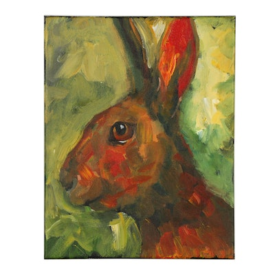 Elle Raines Acrylic Painting of a Hare
