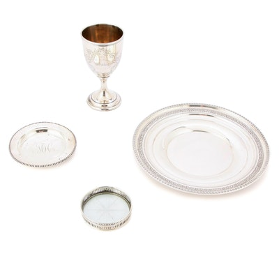 Antique Gorham Sterling Goblet and Coaster plus Whiting Tray, Webster Coasters
