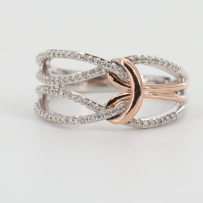 14K White Gold Diamond Ring with Rose Gold Accent