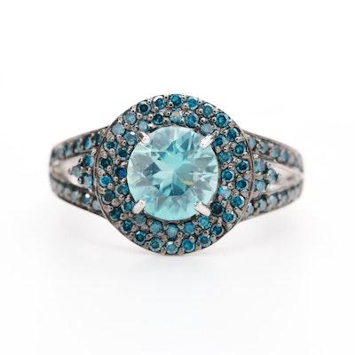 14K White Gold Zircon and Blue Diamond Ring
