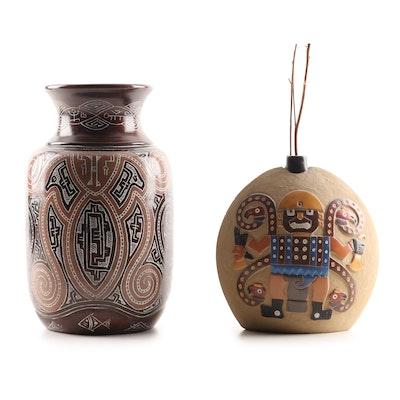 Brazilian Anisio Artesanato Marajoara and Peruvian Handcrafted Ceramic Vases