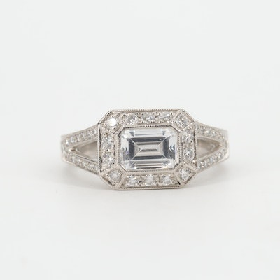 Platinum, Cubic Zirconia and Diamond Ring