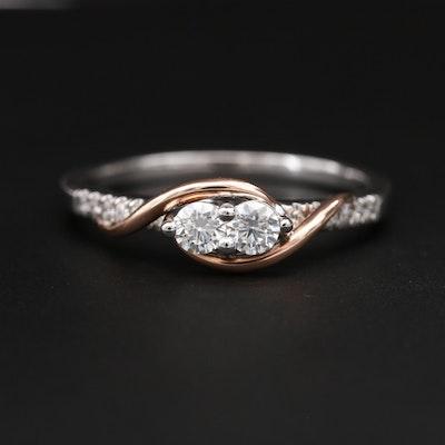 14K White and Rose Gold Diamond Ring