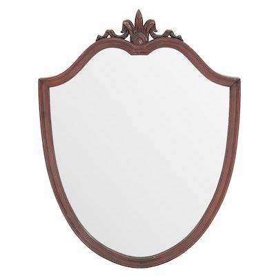 Mahogany Shield-Shaped Mirror, Circa 1940s
